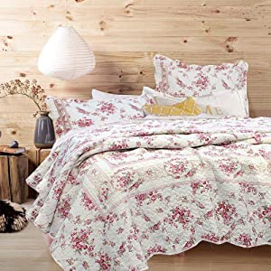Cozy Line Home Fashions Vintage Rose 3-Piece Quilt Bedding Set, Pink Floral Flower Printed 100% Cotton Reversible Coverlet Bedspread for Women (Rose, Queen - 3 Piece)