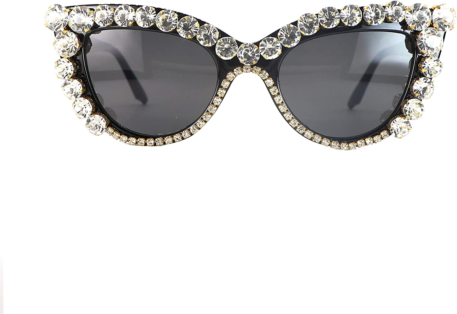 EXAGGERATED Classy Luxury Retro SUNGLASSES Square Frame Bling Sparkling Crystals
