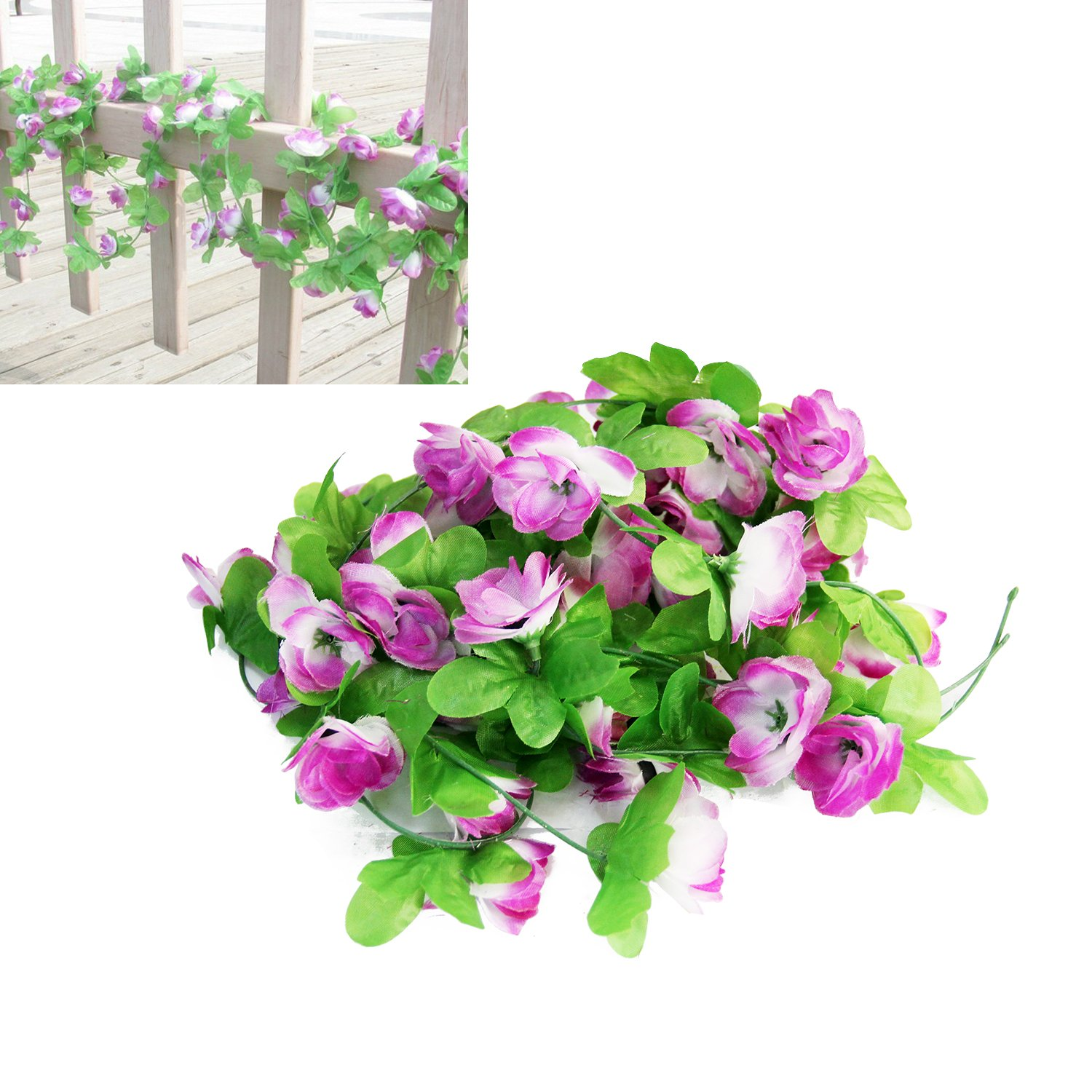 7.5ft Artificial Ivy Fake Hanging Vine Plant Leaves Foliage Flowers Garland  Home Garden Wall Wedding