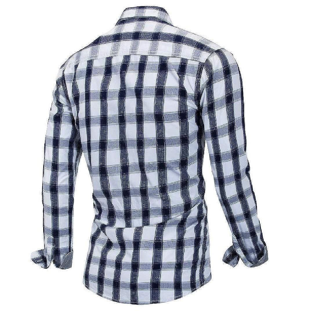 YKeen Men Cotton Long-Sleeve Causal Classic Plaid Button Down Western Shirt