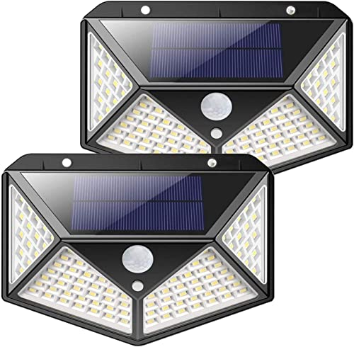 NXSP Outdoor Solar Lights, 2400 Super Bright Energy-Saving Lamps 100 LED Motion Sensor Solar Lights, IP65 Waterproof Module, with 270 Wide Angle, Used in Gardens, terraces, garages 2
