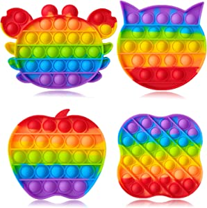 Push Pop Fidget Bubble Sensory Silicone Squeeze Rainbow Toys Stress Relief and Anti-Anxiety Tools Novelty Toy Gift to Relax and Keep Busy for Adult Kids Girls Boys Flower Cat Apple Crab 4 Pack