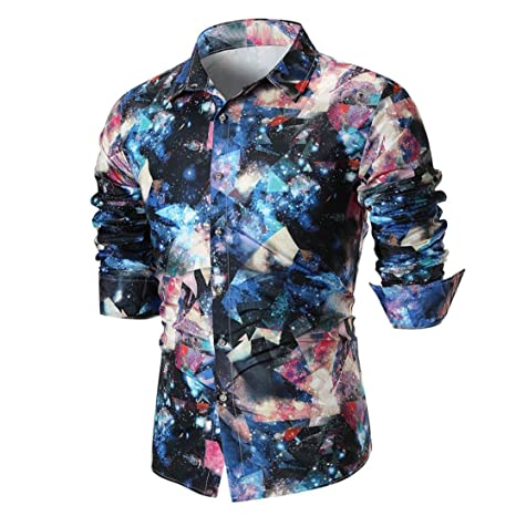 Amazoncom Easytoy Mens Long Sleeve Stylish Floral Feather