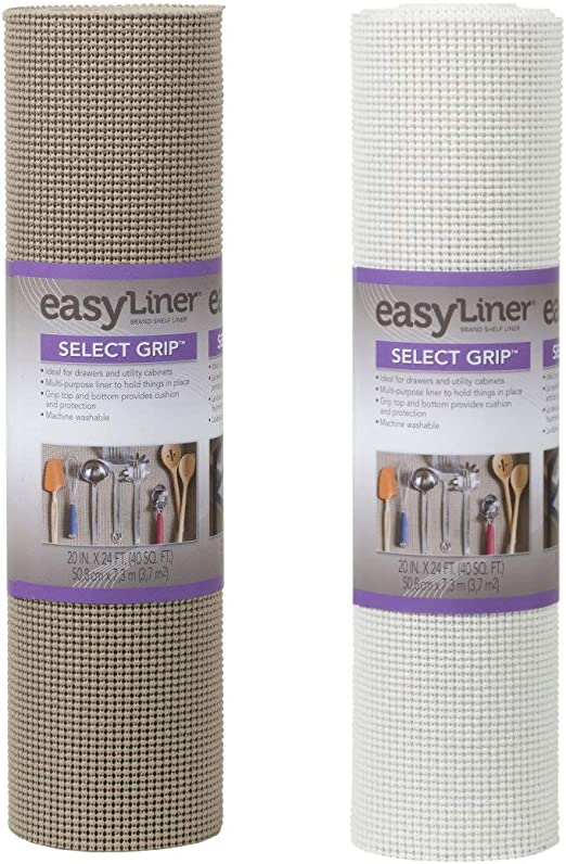 Duck Select Grip EasyLiner Non-Adhesive Shelf Liner, 20 in x 24 ft Roll, Brownstone and White