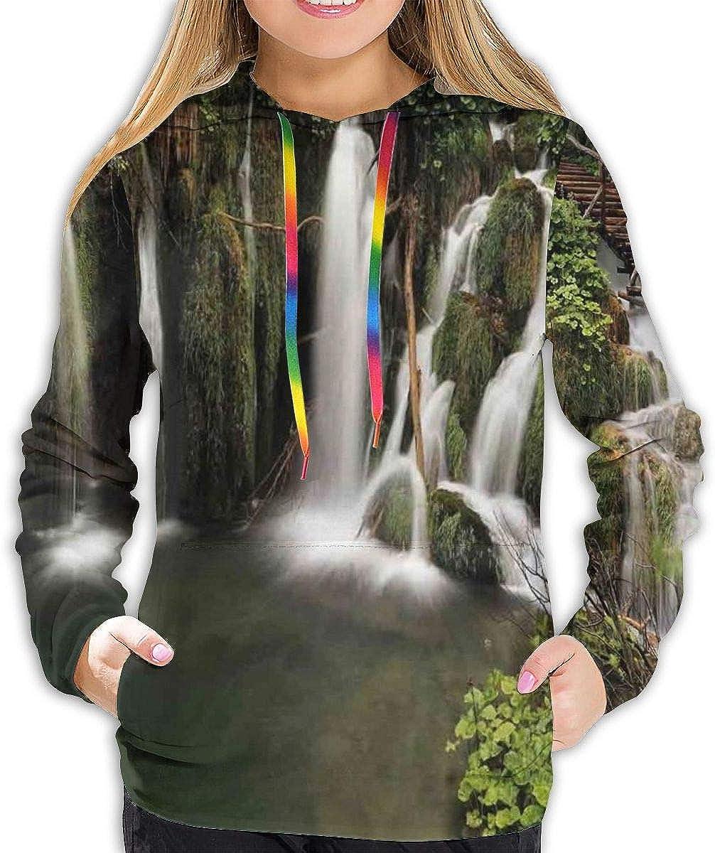Womens Hoodie,Circled Waterfalls in Crotia Europe with A Rustic Wood Cute Bridge Aside,Lady Sweatshirt