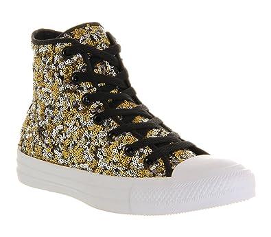 73e785050d02 Converse Converse All Star Hi Black Gold Silver Sequin - 4 UK   Amazon.co.uk  Shoes   Bags
