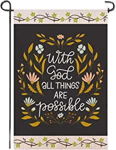 Shmbada with God All Things are Possible Burlap Garden Flag Double Sided Premium Fabric Religious Christian Faith Outdoor House Yard Lawn Farmhouse Porch Patio Decorative Flag 12 X 18 Inch