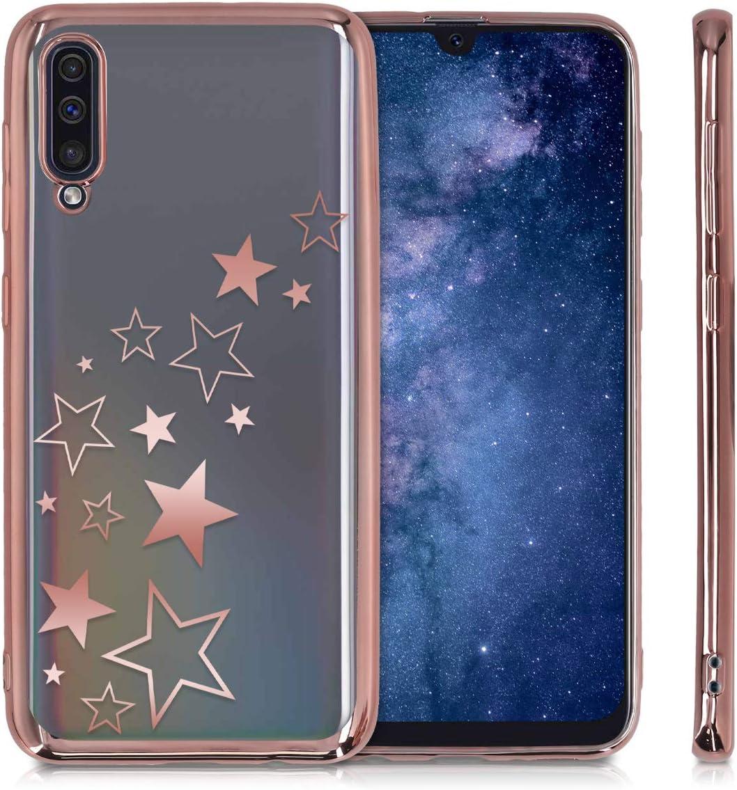 Carcasa de TPU Varias Estrellas en Oro Rosa//Oro Rosa//Transparente kwmobile Funda Compatible con Samsung Galaxy A50
