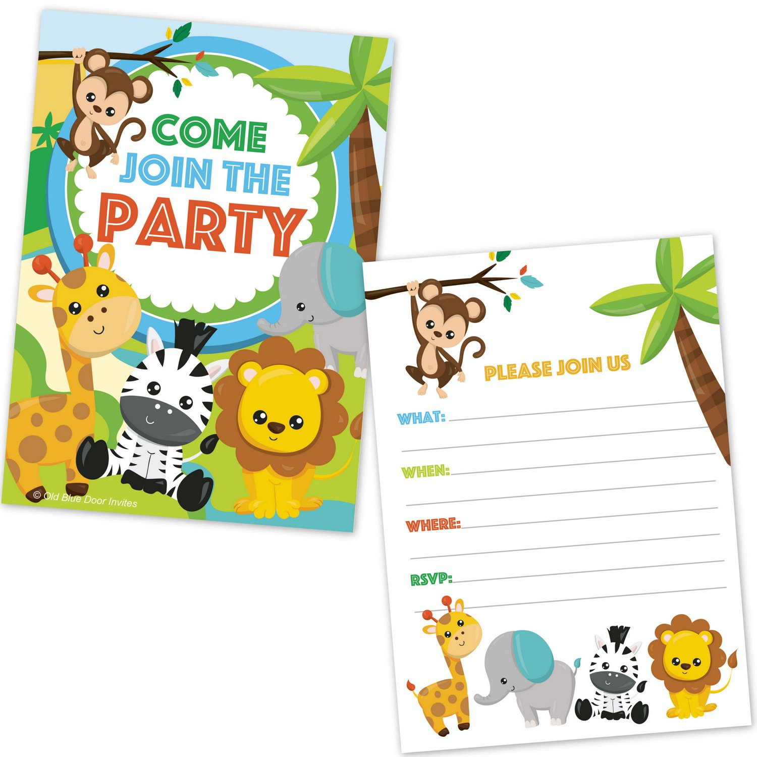 Amazon.com: Safari Jungle Zoo Animals Party Invitations for Kids ...