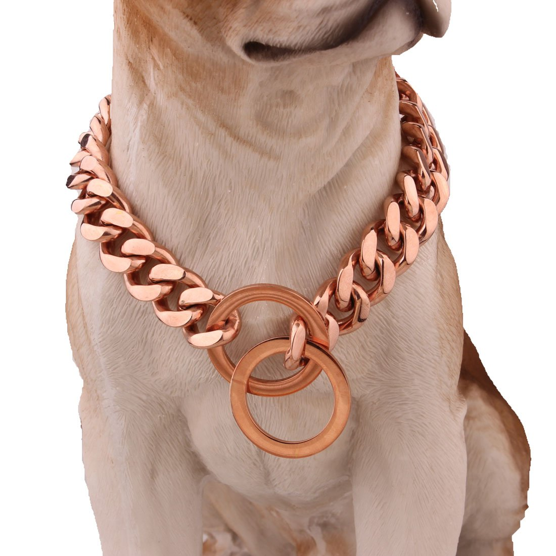 26inch Safe Dog Pet Martingale Pinch Metal Slip Choke 15mm pink gold Stainless Steel Curb Chain Collar for Training Large Dogs 12-32inches (26inch)