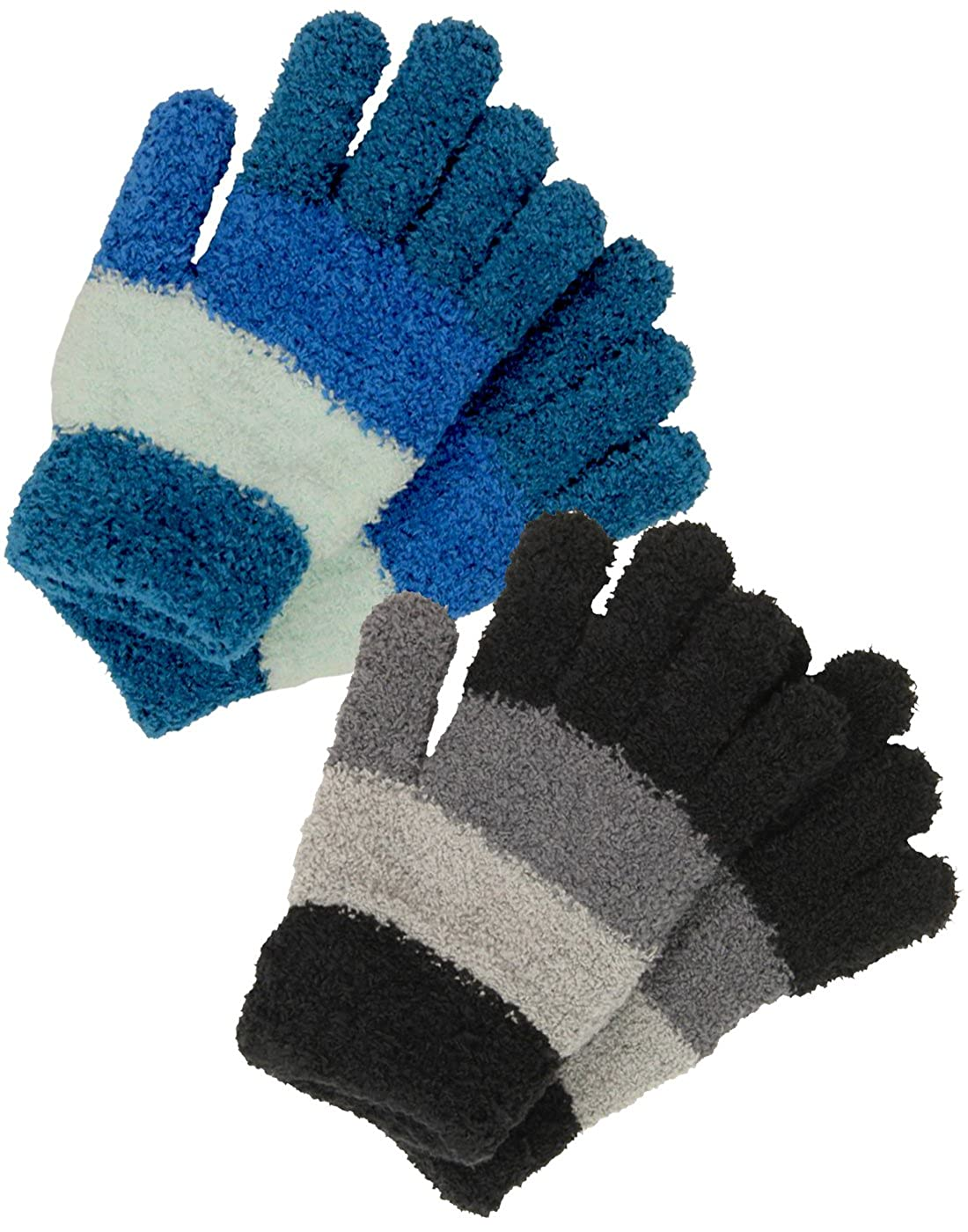 Childrens Cosy Stripe Gloves Soft Touch Gloves Boys Winter Warm Fluffy 2 Colours