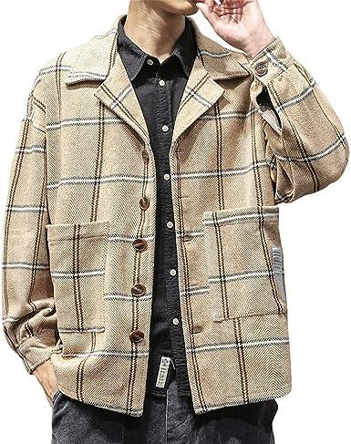 Camiseta de hombre en camisa escocesa vintage, top y camisa a cuadros de jersey con babero bolsillo retro estilo invernal de manga larga abrigo: Amazon.es: Ropa y accesorios