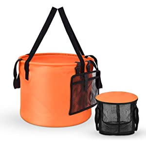 [2019 Latest Version] Collapsible Bucket Compact 8 Gallon Portable Folding Water ContainerWash Basin with Washing Mesh Basket for Traveling Hiking Fishing Boating Gardening Camping