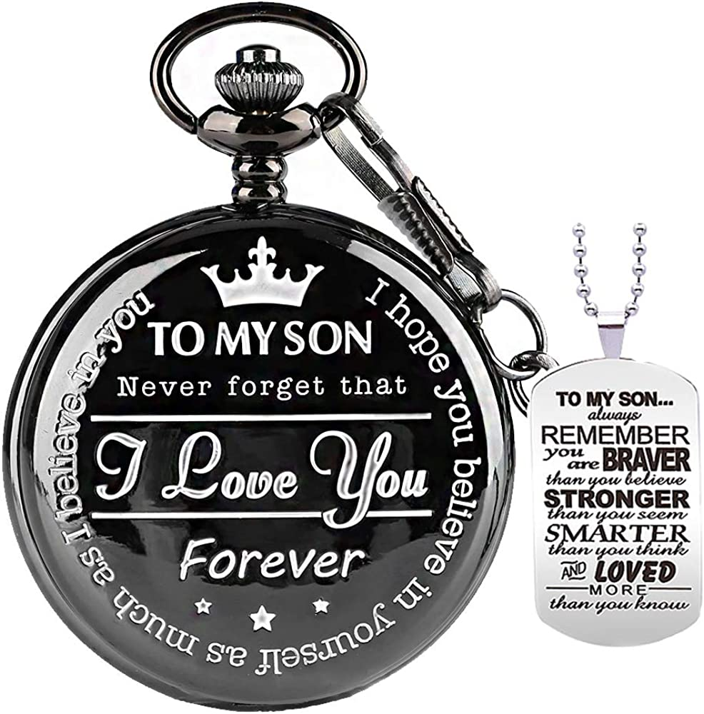 to My-Son-Pocket-Watch-Gifts for Son Best Gifts for Him Birthday Gifts from Wife, Graduation Gifts for Men,Engraved Pocket Watch with Box for Men with necklacechain