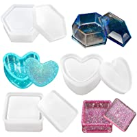 Box Resin Moulds, Jewellery Box Moulds with Heart Shape Silicone Resin Mould, Hexagon Storage Box Mould and Square Epoxy…