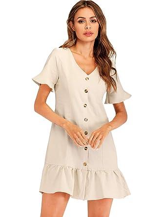 d0648056b87 Romwe Women's Cute Short Sleeve Button Up Ruffle Hem Tunic Dress at Amazon  Women's Clothing store: