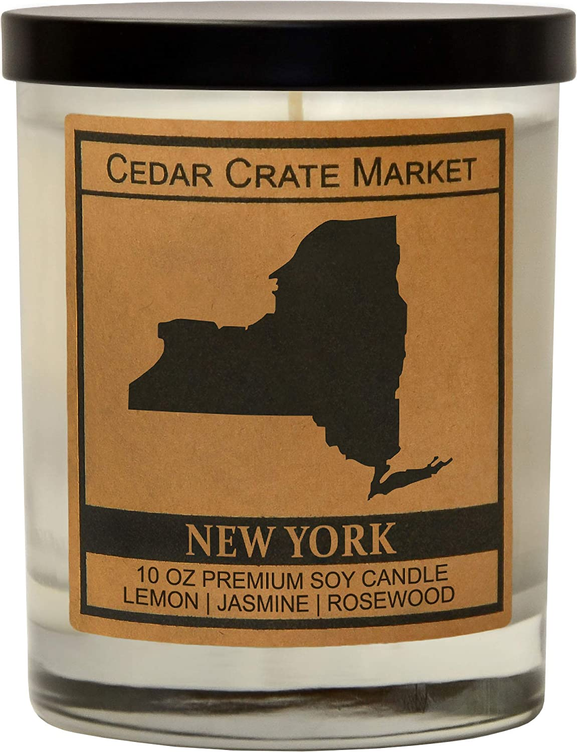 New York Kraft Label Scented Soy Candle, Lemon, Jasmine, Rosewood, 10 Oz. Glass Jar Candle, Made in The USA, Decorative Candles, Going Away Gifts for Friends, State Candles