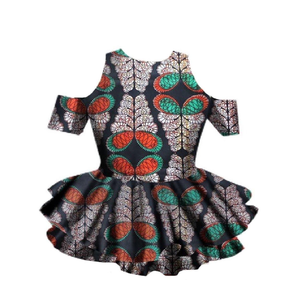 Winwinus Womens African Wax Fabric Dashiki Fine Cotton Falbala Shirt Top Grey S