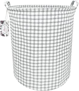 "TIBAOLOVER 19.7"" Large Sized Waterproof Foldable Canvas Laundry Hamper Bucket with Handles for Storage Bin,Kids Room,Home Organizer,Nursery Storage,Baby Hamper (White Square)"