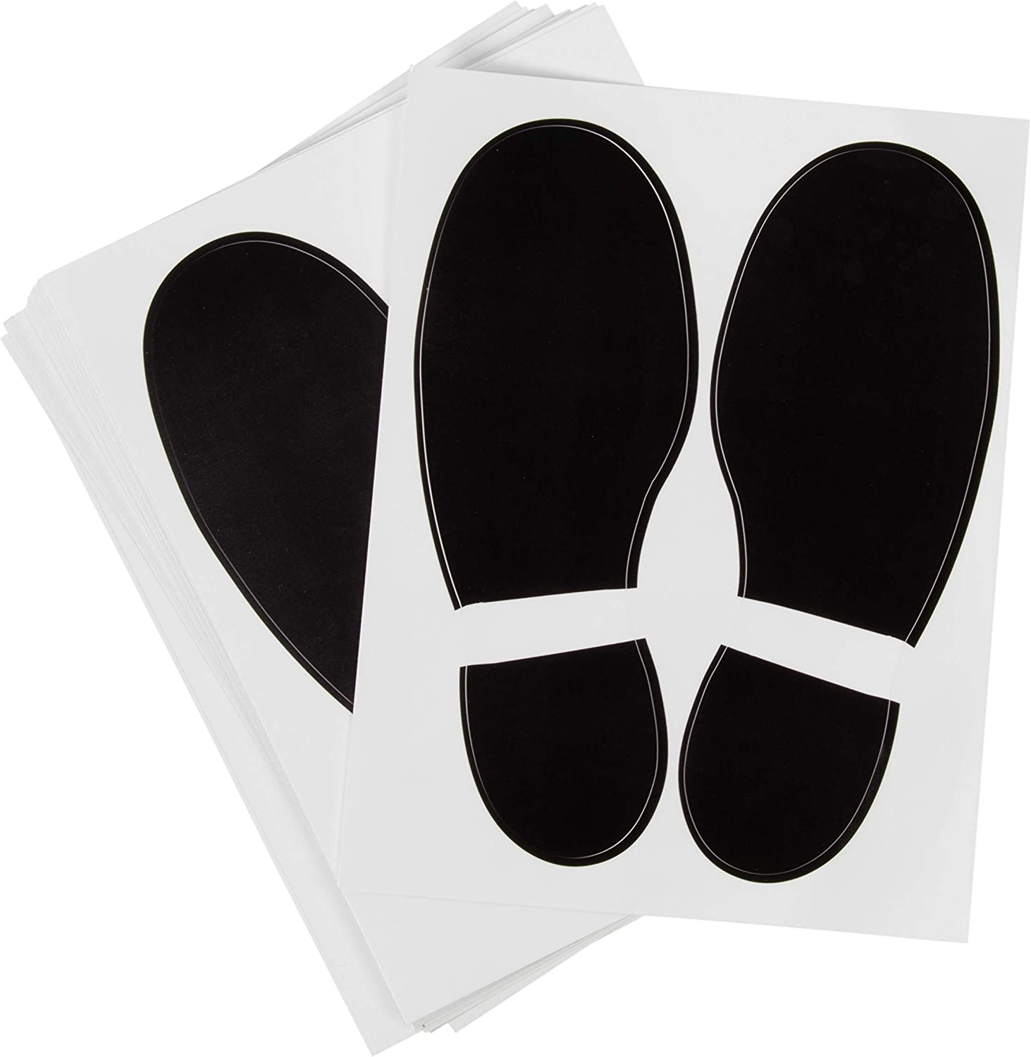 Juvale Footprint Stickers - 32-Pairs Footprint Decal Self-Adhesive Stickers for School, Dance Studio, Party, Floor Stickers Party Accessories, Black, 7.1 x 2.6 Inches