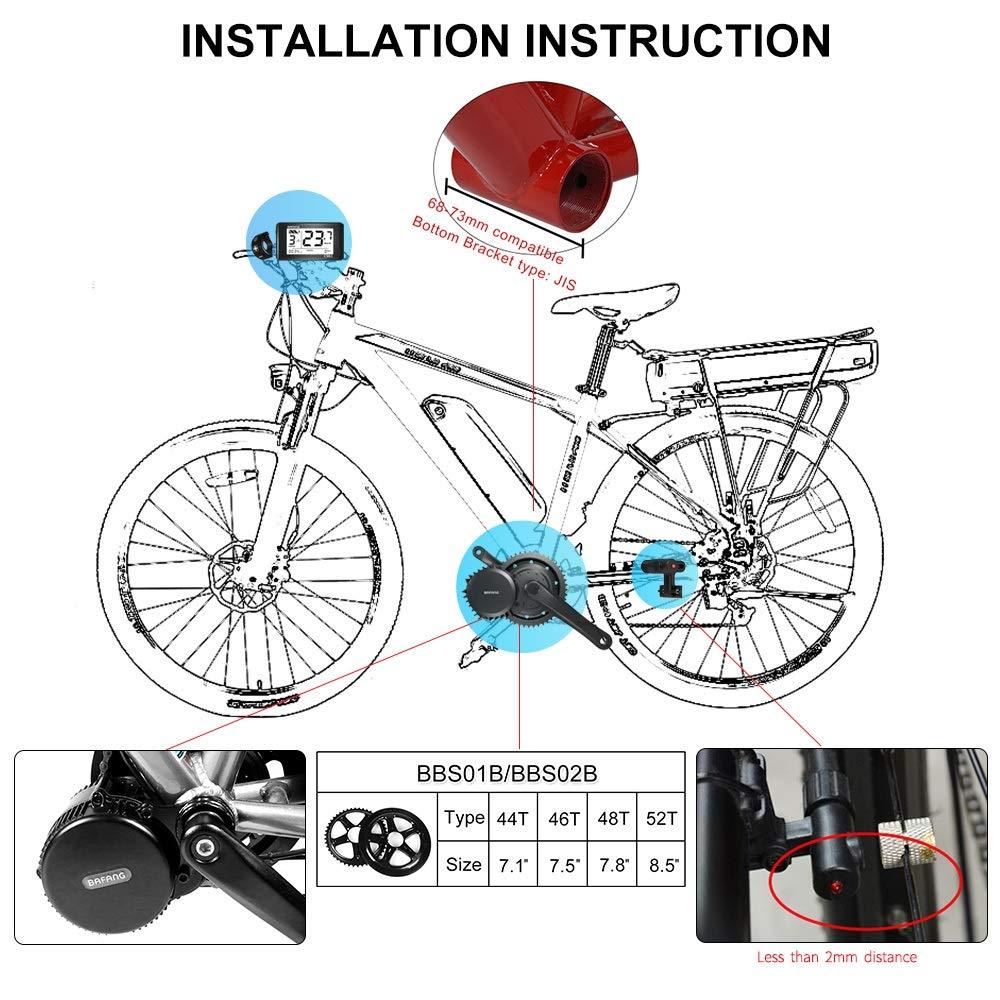 Bafang BBS02B 48V 750W Mid Drive Electric Bike Motor Ebike Conversion Kit Mid Motor for Mountain Bike Road Bike