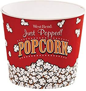 West Bend PC10636 Reusable Theater Popcorn Bucket Dishwasher-Safe, 7-Quart, Red