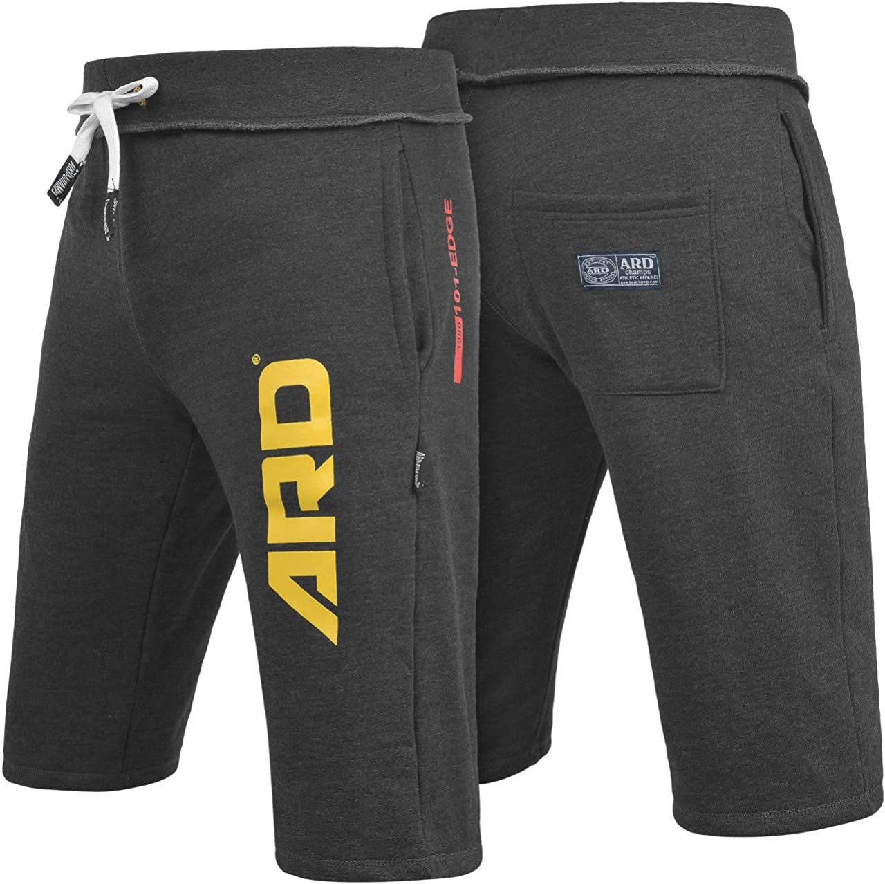 ARD CHAMPS Mens Cotton Fleece Shorts Jogging Casual Home Wear MMA Boxing Martial Art Jogger (S-XXL) (Charcoal, Medium)