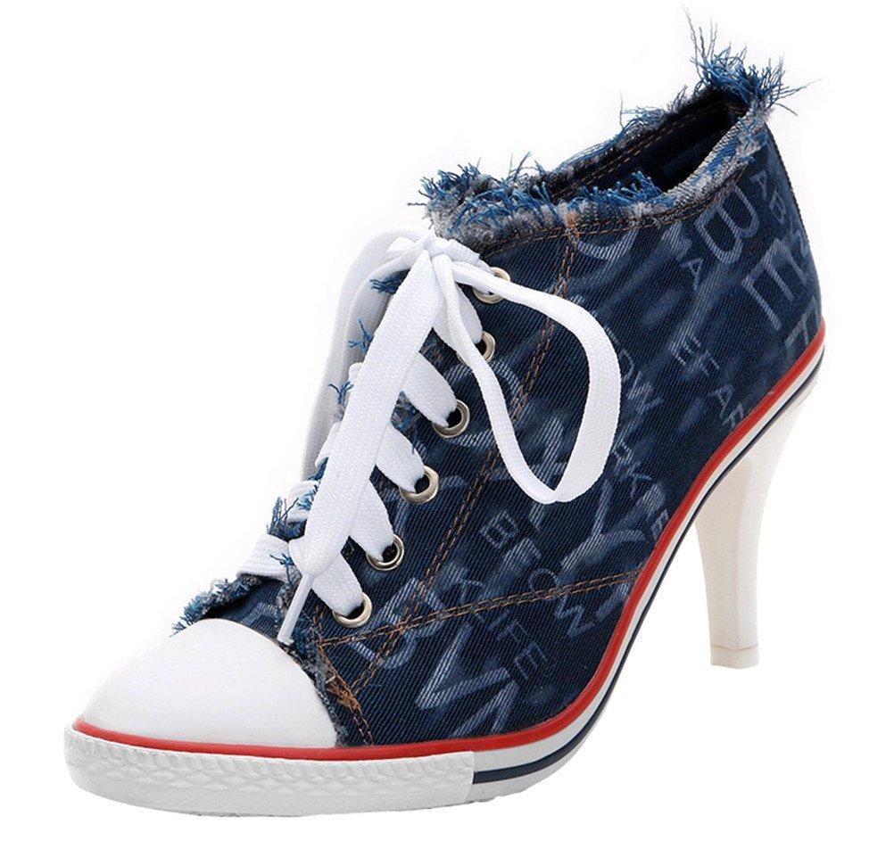 ACE SHOCK Jeans Canvas Shoes Women Wedges, Casual Denim Sneakers Fine with Plimsolls 2 Colors (US 6.5, Blue)