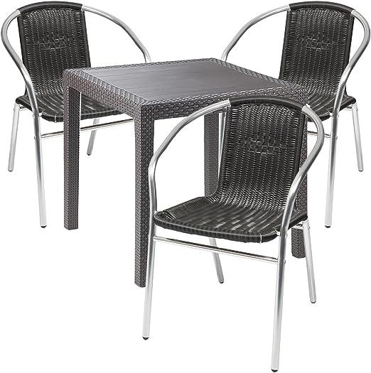 Mobiliario de jardín – 4 piezas – Mesa de jardín PLÁSTICO 79 x 79 h72 cm – + 3 sillas apilables – Plástico – Aluminio – Bistro Set – Comedor – Silla apilable: Amazon.es: Jardín