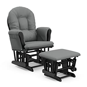 Storkcraft Premium Hoop Glider and Ottoman (Black Base, Gray Cushion) – Padded Cushions with Storage Pocket, Smooth Rocking Motion, Easy to Assemble, Solid Hardwood Base