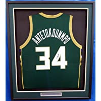 $499 » Milwaukee Bucks Giannis Antetokounmpo Autographed Framed Green Greek Freak Jersey JSA