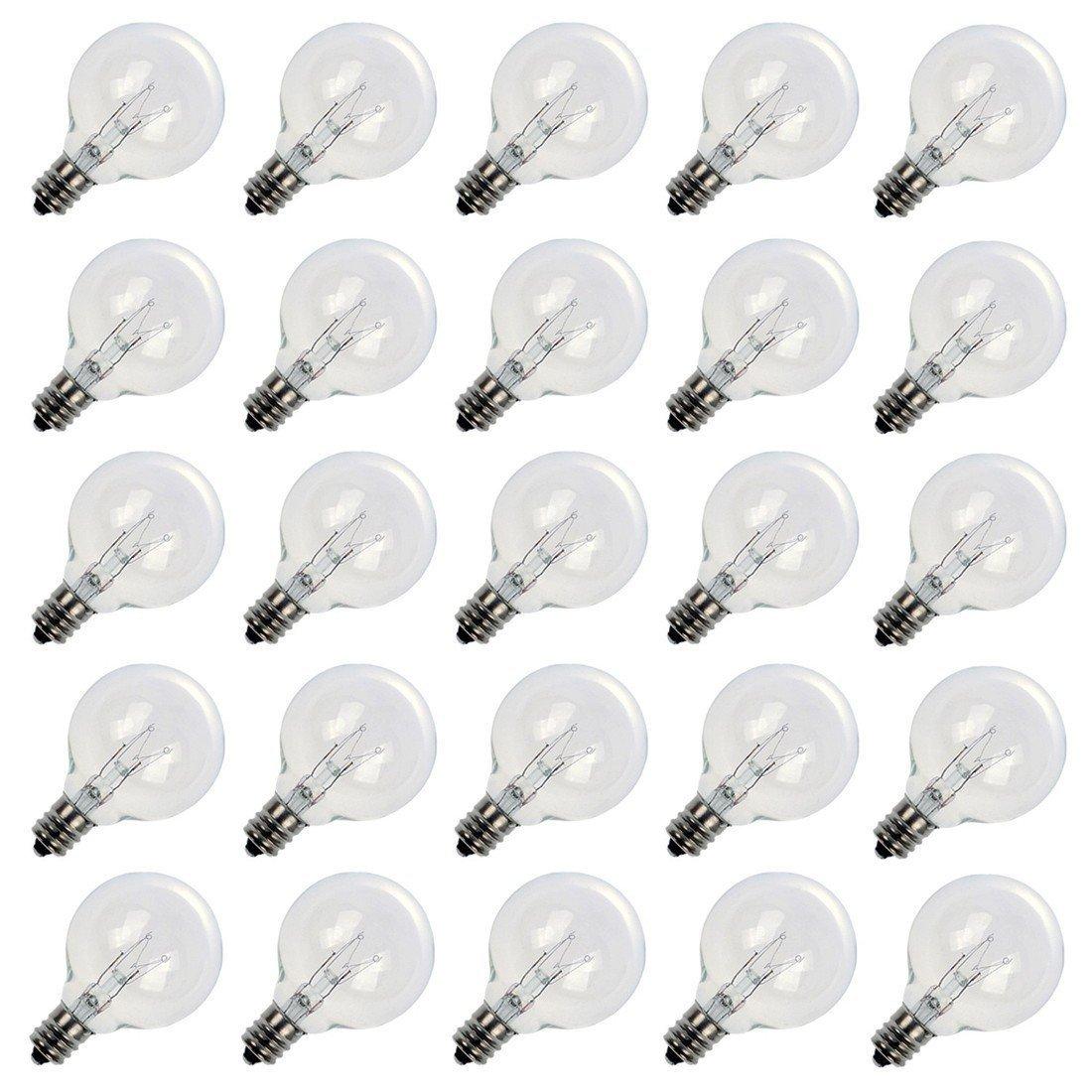 25 Pack Clear G40 Globe Bulbs With Candelabra Screw Base, E12 Candelabra Base Light Glass Bulbs