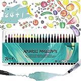 Brush Pens Set, 24 Coloring Pens + 1 Water Tank Brush Pen, Soft Brush Pens for Drawing, Calligraphy and Bullet Journal