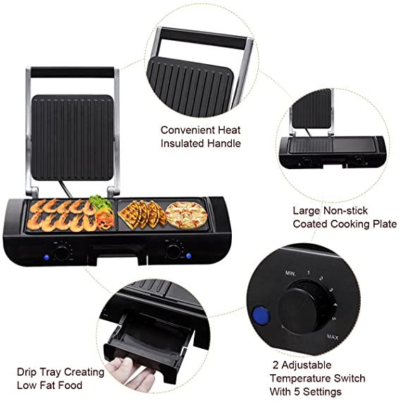 Costway 2 In 1 Electric Grill Teppanyaki Table Top Griddle BBQ Hot Plate  Barbecue 1500W: Amazon.co.uk: Kitchen U0026 Home