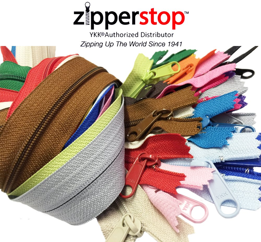 Zipperstop Wholesale YKK® 24 Inches Purse Zippers Extra Long Handbag Pull Assorted Colors 19 Piece Pack YKK® #4.5 Handbag Closed Bottom Crafter's Special - Made in USA Made in USA by ZipperStop Wholesale Authorized Distributor YKK®