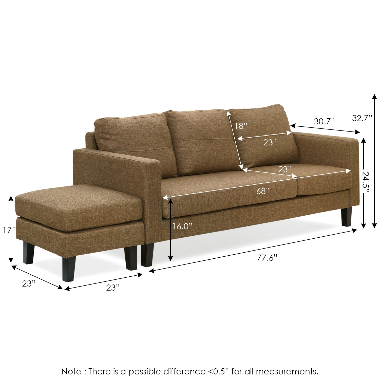 Amazon.com: Furinno Simply Home Chaise Sectional Sofa with ...