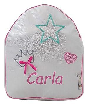 Mochila o Bolsa Infantil lencera Personalizada con Nombre plastificada. Modelo Shiny Queen (Brillo Plata): Amazon.es: Equipaje