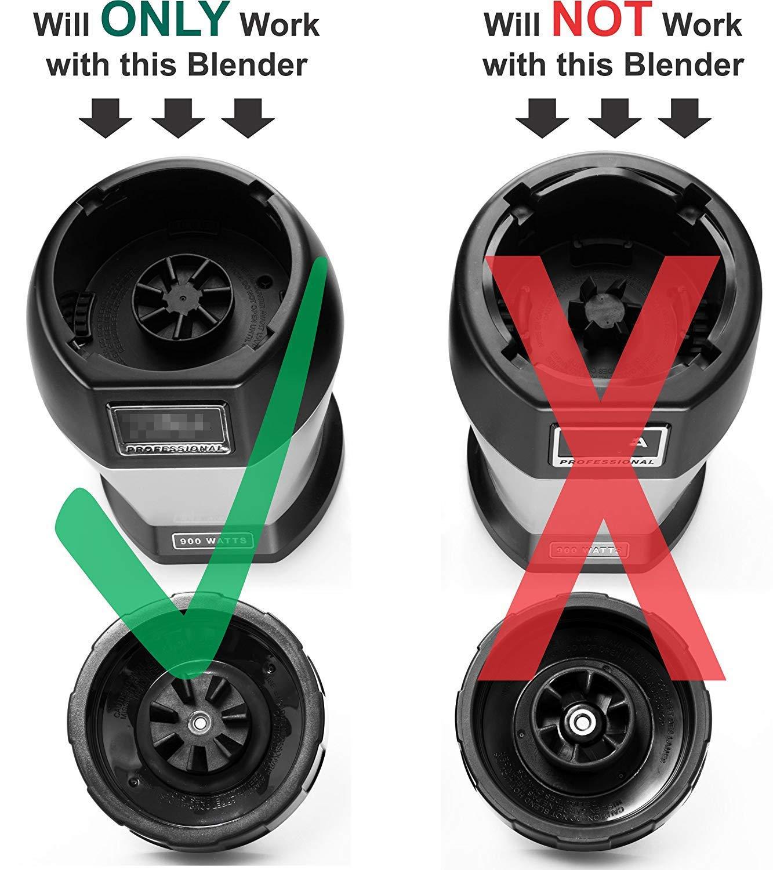 BL482 Blade for Nutri Ninja BL480-30 BL482-30 BL682 7 Fins Replacement Blade with 24oz Blender Cup for Nutri Ninja 1000w