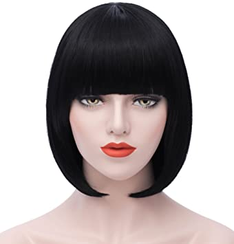 Mersi Short Black Bob Hair Wigs with Bangs 12 Inch Straight Cosplay Costume  Wigs Heat Resistant Synthetic Fun Wig for Women S029BK