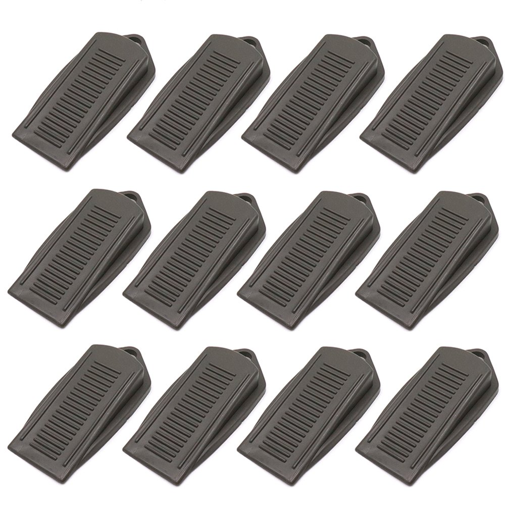 BTMB 12 Pcs Rubber Wedge Door Stoppers Premium Doorstop Non-Scratching Door Holders (Grey)