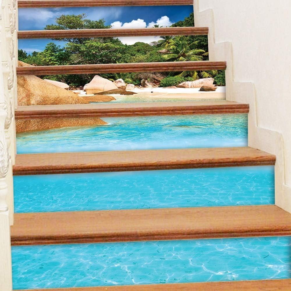 Lmycrs Pegatinas de la Escalera 6 Unids/Set 3D Ocean Beach Escaleras Autoadhesivas Pegatinas Pegatinas de Vinilo Escaleras Escalera Wallpaper Autoadhesivas Escaleras Riser Pegatinas: Amazon.es: Hogar