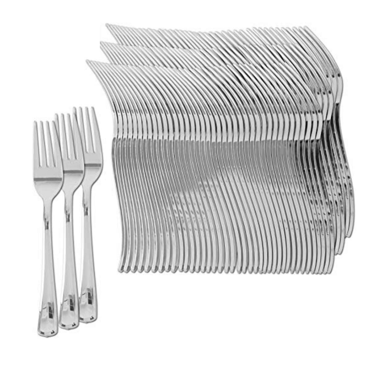 Plastic Silverware | Heavy Duty & Solid Cutlery Disposable Utensils Set | Perfect for Weddings, Buffets, Luncheon, Birthdays, More | Pack of 150 Silver Plastic Forks
