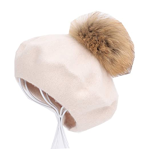 bfe24b95979fe New Painter Beret Outdoor Artist Hats Autumn and Winter Warm Knit caps  Solid Color Fashion Fur