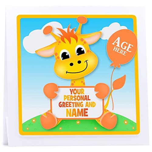 Personalised First Birthday Card 1st 2nd 3rd 4th 3D Giraffe
