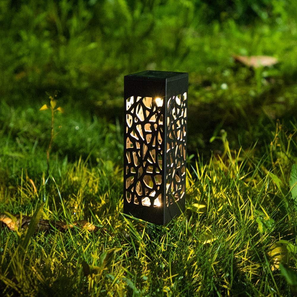 Pasillo 6 Piezas Luces Solares Jardin Exterior Impermeable Iluminaci/ón Decorativa Exterior Iluminaci/ón de Caminos para Camino Patio L/ámparas Solares para Jard/ín C/ésped Luz Solar Exterior Jardin