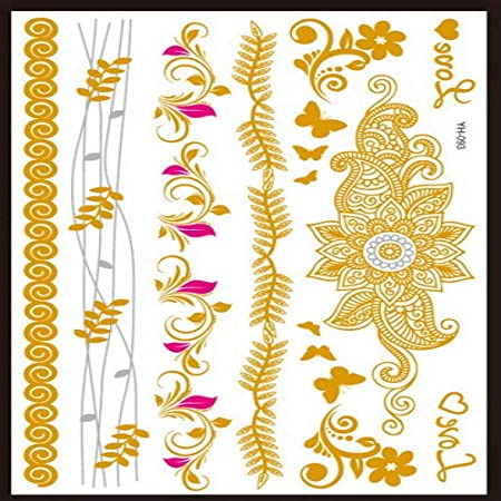 adgkitb 3 Piezas de Hoja de diseños árabes Indios de Plata Dorada ...