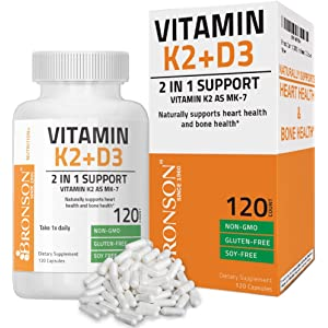 Bronson Vitamin K2 (MK7) with D3 Supplement - Vitamin D & K Complex Premium