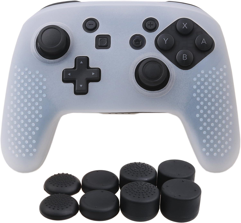 YoRHa Tachonado silicona caso piel Fundas protectores cubierta para Nintendo Switch Pro Mando x 1 (blanco claro) Con PRO los puños pulgar thumb gripsx 8