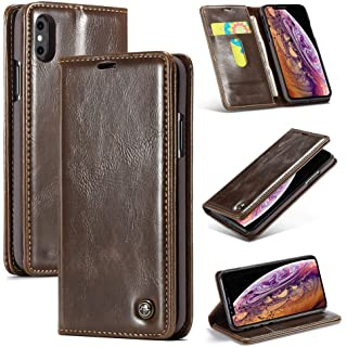 Excelsior Premium Leather Wallet Flip Case Cover for Apple iPhone Xs Max 6.5 Inch  Brown