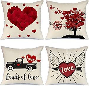 AENEY Valentines Day Pillow Covers 18x18 inch Set of 4 for Home Decor Red Heart and Red Tree Decor Valentines Day Throw Pillows Decorative Cushion Cases Valentine Decorations A287
